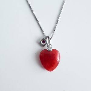 ELLE Sterling Silver 925 necklace heart chain ruby